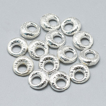925 Sterling Silver Bead Frame, Donut, Silver, 10x9.5x4mm, Hole: 0.8mm; Inner Diameter: 4mm(STER-T002-295S)