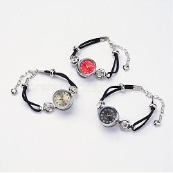 """Bracelet à pression en laiton avec des montres, avec faux suède, Composants et strass de montres de fer, platine, couleur mixte, 7-1/2"""" (190 mm)(BJEW-JB02667)"""