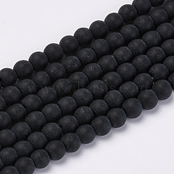 Transparent Glass Beads Strands, Frosted, Round, Black, 6mm, Hole: 1mm; about 55pcs/strand, 12.9 inches