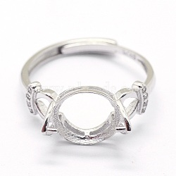 Adjustable 925 Sterling Silver Finger Ring Components, For Half Drilled Beads, with Cubic Zirconia, Clear, Platinum, Size: 7, 17mm; Tray: 10x8mm; Pin: 0.6mm(STER-I016-034P)