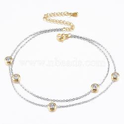 """Bracelets de cheville multi-brins en 304 acier inoxydable , avec strass, plat rond, or et acier inoxydable Couleur, 8-5/8""""x1/8"""" (220x1.2 mm)(AJEW-K014-08GP)"""