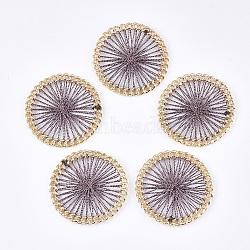 тканые подвески из полиэфирной нити, сплава с выводами, плоские круглые, золотой, rosybrown, 38x4 mm(FIND-S306-08F)