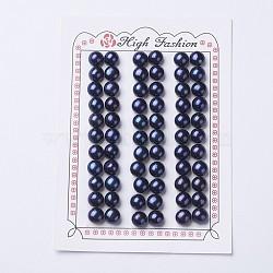 естественный культурный жемчуг пресноводных, половине просверлил, вокруг, черный, 7~8x6.5~7 mm, отверстия: 1 mm(PEAR-I004A-02)