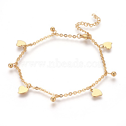 304 Stainless Steel Charm Anklets, Heart and Round, Golden, 9-1/4 inches(23.5cm); 2mm(AJEW-O028-01G)