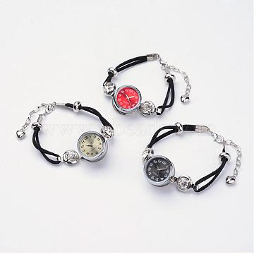 Brass Snap Bracelet with Watches, with Faux Suede, Iron Watch Components and Rhinestones, Platinum, Mixed Color, 7-1/2 inches(190mm)(BJEW-JB02667)