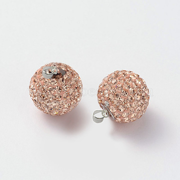 Austrian Crystal Pendants, with Sterling Silver Clasps, Round, 362_Light Peach, 16mm, Hole: 3.5mm(SR16MM-A362)