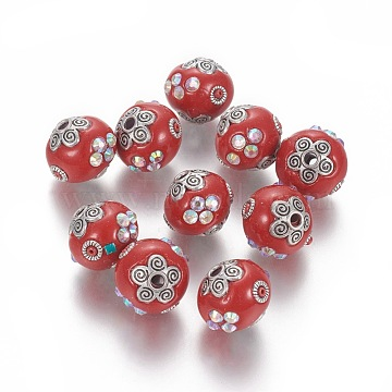 Handmade Indonesia Rhinestone Beads, with Metal Findings, Round, Antique Silver, Red, 15~15.5x14~15mm, Hole: 2.2mm(IPDL-E012-23C)