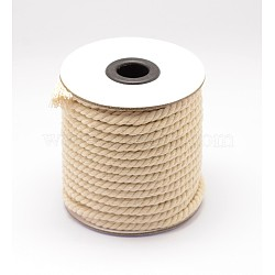Round Cotton Twist Threads Cords, Macrame Cord, LightYellow, 5mm; about 17yards/roll(OCOR-L006-F-15)