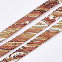 Cordons de tissu plat, colorées, 9.5x1.5 mm; environ 5 m/rouleau(OCOR-T013-04B-12)