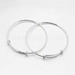 """Регулируемые манжеты латуни делает, серебряные, 2-1/2"""" (64 мм)(X-BJEW-E218-01S)"""
