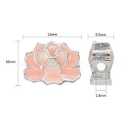 perles en alliage d'alliage de style chinois, les voyous, plaqué argent, rose, 10x13x5.5 mm, trou: 1.8 mm(X-ENAM-L015-32A-S)