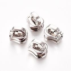 extracteur de tirette d'alliage de zinc, accessoires du vêtement, platine, 10x9x8.6 mm, trou: 4.5x2 mm(PALLOY-WH0067-95A)
