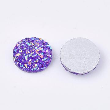 Resin Cabochons, Imitation Druzy Agate, Flat Round, AB Color Plated, BlueViolet, 12x3mm(X-CRES-Q191-HA027-5)