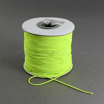 Round Elastic Cord, with Nylon Outside and Rubber Inside, GreenYellow, 0.8mm; about 100m/roll(EC-R001-0.8mm-020A)
