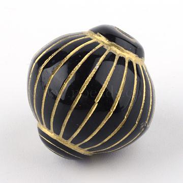 Lantern Plating Acrylic Beads, Golden Metal Enlaced, Black, 20x19mm, Hole: 2.5mm(X-PACR-Q102-71B)