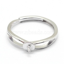 Adjustable Sterling Silver Ring Components, For Half Drilled Beads, Platinum, 16mm; Pin: 0.6mm(STER-I016-016P)