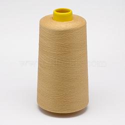 100% polyester filé fil à coudre de fibres, lightkhaki, 0.1 mm; sur 5000 mètres / rouleau(OCOR-O004-A35)