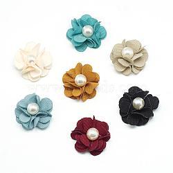 Accessoires de costumes tissés en tissu manuels, avec perles en plastique imitation abs, fleur, couleur mixte, 25x11~12mm(WOVE-Q064-13)