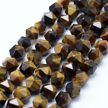 8mm BurlyWood Polygon Tiger Eye Beads