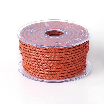 Braided Cowhide Cord, Leather Jewelry Cord, Jewelry DIY Making Material, Orange Red, 4mm, about 32.8 yards(30m)/roll(WL-I004-4mm-26)