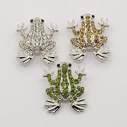 Boutons en strass platine en alliage de zinc, boutons pression bijoux grenouille, Sans cadmium & sans nickel & sans plomb, couleur mixte, 23x19.5x6.5 mm; bouton: 5 mm(SNAP-M004-07)