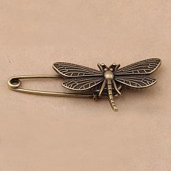 Broches en alliage de style tibétain, libellule, bronze antique, 48x30mm(X-JEWB-N0004-002D)