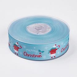 """Rubans gros grain imprimés polyester, le thème de Noël, ours, bleu clair, 1"""" (25 mm); environ 100yards / rouleau (91.44m / rouleau)(ORIB-E002-C01)"""