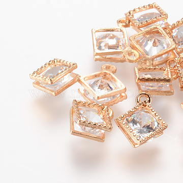 Light Gold Rhombus Cubic Zirconia Charms