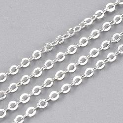 chaînes de câble en laiton, avec bobine, soudé, argent, 2.5x2x0.3 mm; sur 15 m / rouleau(CHC-S006-03C)