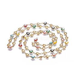 304 chaînes en acier inoxydable émaillé, soudé, coeur et plat mauvais oeil rond, colorées, or, 10x5.5x2mm(CHS-P006-10G)