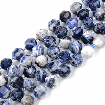 Natural Sodalite Beads Strands, Round, Faceted, 8~9x10mm, Hole: 1.2mm; about 33~35pcs/strand, 15.16inches(38.5cm)(G-R482-21A-10MM)