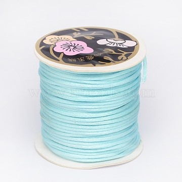 Nylon Thread, Rattail Satin Cord, Pale Turquoise, 2mm, about 25.15 yards(23m)/roll(LW-K001-2mm-02)