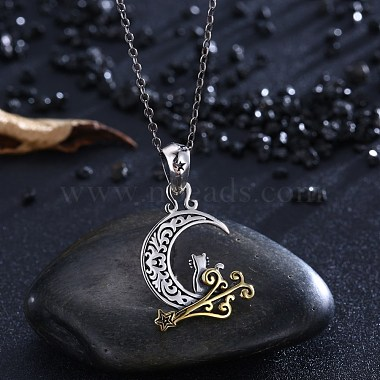Thai 925 Sterling Silver Kitten Pendant Necklaces(NJEW-BB32717)-3