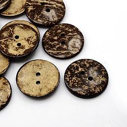 Boutons de noix de coco, 2-trou, plat rond, coconutbrown, 37.5mm, Trou: 4mm(X-COCO-I002-102)