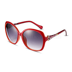 Fashion Star Style Women Summer Sunglasses, Red Plastic Frames and PC Space Lens, Inky, 5.4x14.5cm(SG-BB14523-4)