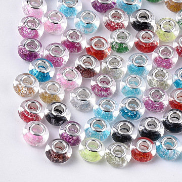 Resin European Beads, Large Hole Beads, with Glitter Powder and Platinum Tone Brass Double Cores, Rondelle, Mixed Color, 13.5~14x8.5~9mm, Hole: 5mm(RPDL-T002-06)