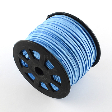 Faux Suede Cord, Faux Suede Lace, LightSkyBlue, 3x1.5mm; 100yards/roll(LW-G001-59)