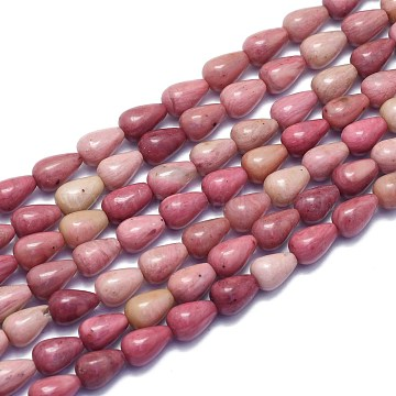 Natural Rhodonite Beads Strands, Drop, 9x6mm, Hole: 0.8mm; about 43pcs/Strand, 14.96 inches(38cm)(G-K310-G01)
