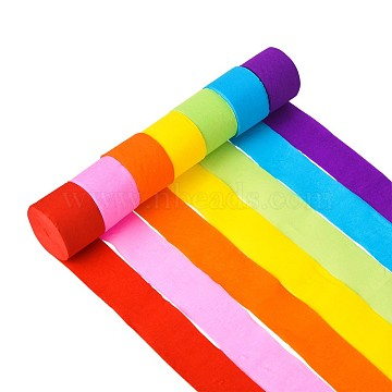 Handmade Crepe Paper Wrapping Paper Goffer for Birthday Wedding Party Decoration, Mixed Color, 45mm; 7rolls/set(DIY-CJ0013-01)