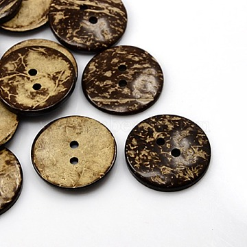 Coconut Buttons, 2-Hole, Flat Round, Coconut Brown, 37.5mm, Hole: 4mm(X-COCO-I002-102)