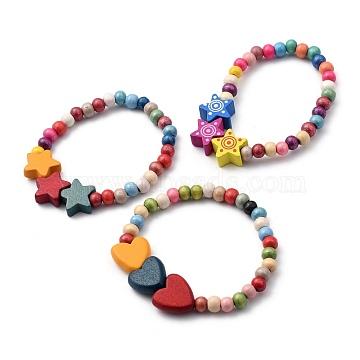 Kids Bracelets Sets, Natural Wood Beaded Stretch Bracelets, Heart & Star, Mixed Color, Inner Diameter: 2 inches(5.1cm), 3pcs/set(BJEW-JB05465)