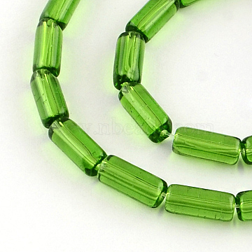Transparent Glass Bead Strands, Tube, Green, 10x4mm, Hole: 0.5mm; about 32~33pcs/strand, 12.5 inches(X-GLAA-R162-10x4-02)