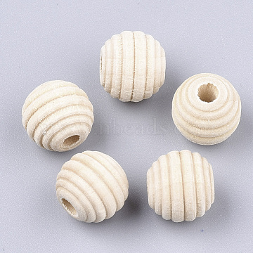 Natural Wood Beads, Beehive Beads, Antique White, 12x11mm, Hole: 3mm(X-WOOD-S053-48)