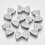 Platinum Bowknot Alloy+Rhinestone Slide Charms(ALRI-T007-01P)