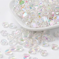 Eco-Friendly Transparent Acrylic Beads, Heart, Clear AB, AB Color, about 8mm in diameter, 3mm thick, Hole: 1mm