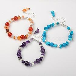 Bracelets en pierres gemmes, avec perles texturées en laiton et pinces de homard en alliage, de couleur métal argent, pierre mixte, 185mm(BJEW-JB01391)