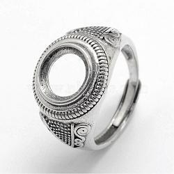 En argent sterling thai réglable composants d'anneau large bande, argent antique, plateau: 10 mm; 19 mm(STER-F025-07AS)