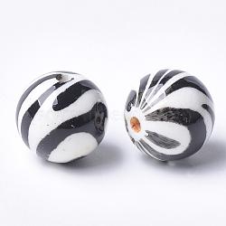 Perles acryliques imprimées, rond, noir, 14x13.5mm, Trou: 2.5mm(MACR-T024-53)