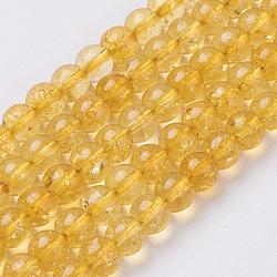 Цитрин бисер нитей, круглые, синтетический кристалл, окрашенная и подогревом, 6 мм, отверстие : 0.8 мм(G-C076-6mm-6A)