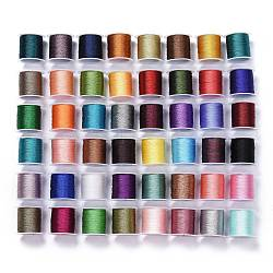 Polyester Braided Metallic Cord, for DIY Braided Bracelets Making and Embroidery, Mixed Color, 0.6mm, 9-Ply, about 38.27 yards(35m)/roll(OCOR-I007-C)
